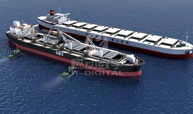 船运装卸过驳的三维演