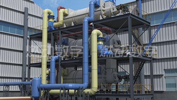 固废热解气化工艺流程三维演示动画