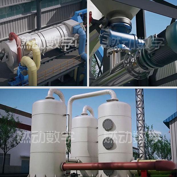 固废热解气化工艺流程三维动画
