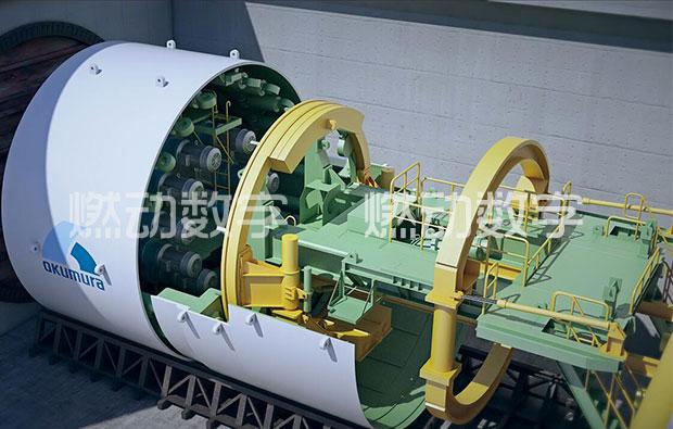 日本奥村机械盾构机原理及安装三维仿真演示动画