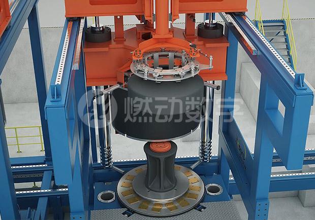 自动更换模具液压硫化机三维动画